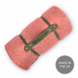 Pure new wool waterproof picnic blanket - Soft Cranberry Red