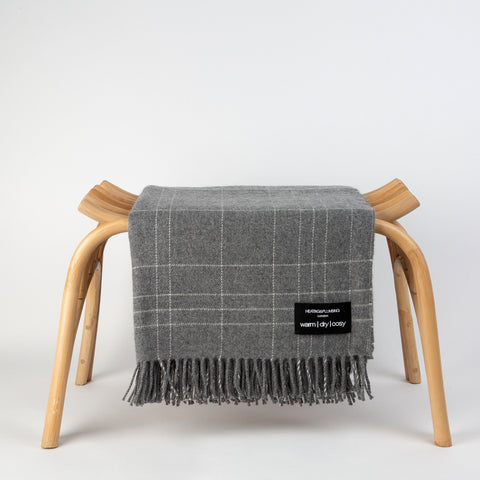 Wonderfully soft Merino Lambswool Throw - Grey & White Checks