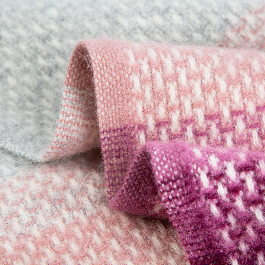 Evening Tales - Pure New Wool Blanket - Super Fluffy - Grey , Wine & Pink