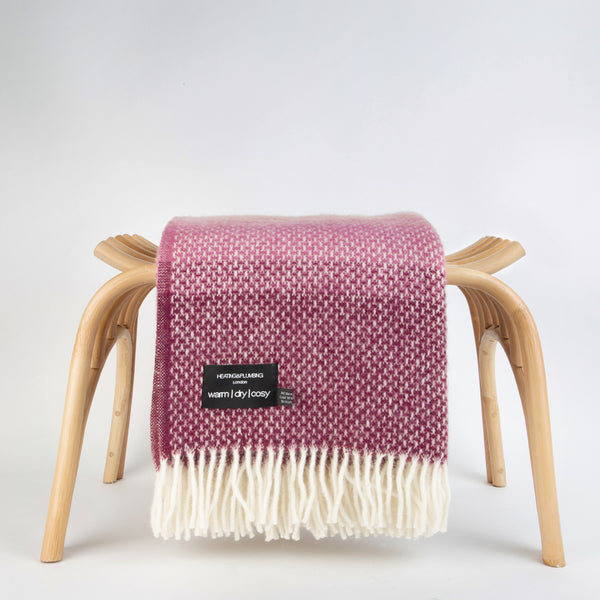 Super Fluffy Pure New Wool Blanket - Grey with shades of wine and pink