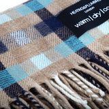 Wonderfully soft Merino Lambswool Throw - Dark Blue, Turquoise and Light Brown