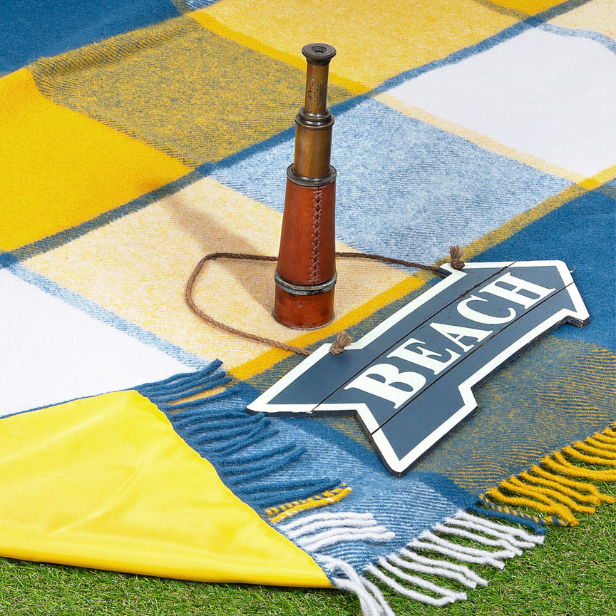 blue and yellow check waterproof picnic blanket