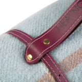 Leather strap in different colours to carry your  blue check picnic blanket