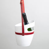 White champagne bucket with red leather strap
