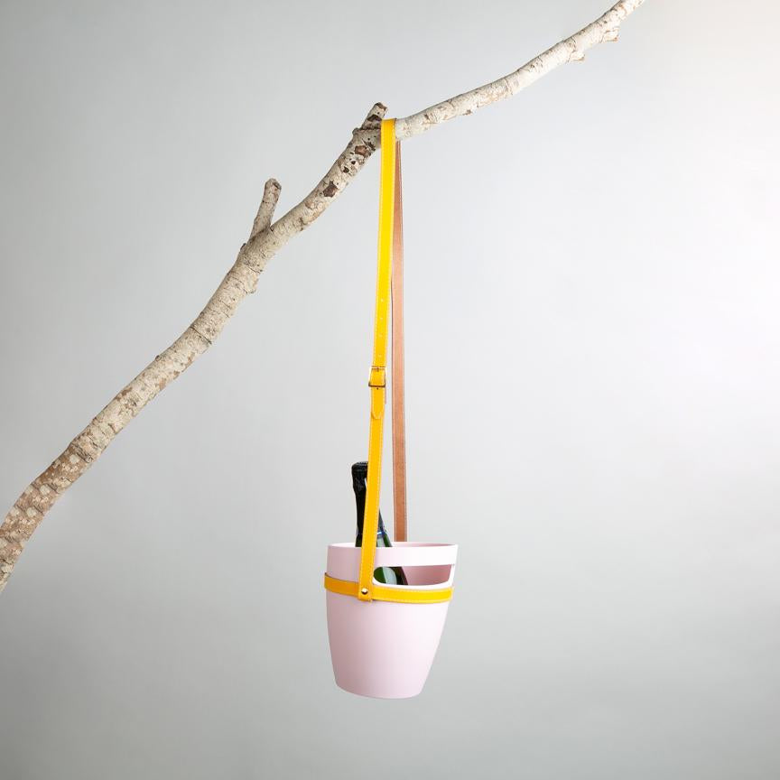 pink wine bucket with hanging strap