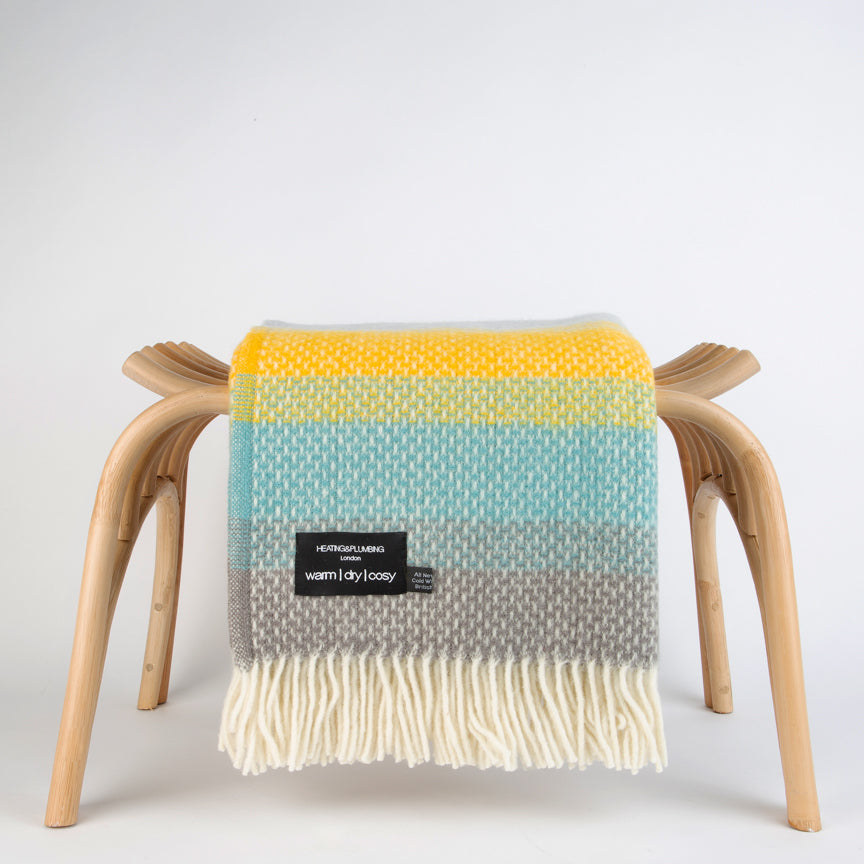 Super Fluffy Pure New Wool Blanket - Yellow, Turquoise and Grey