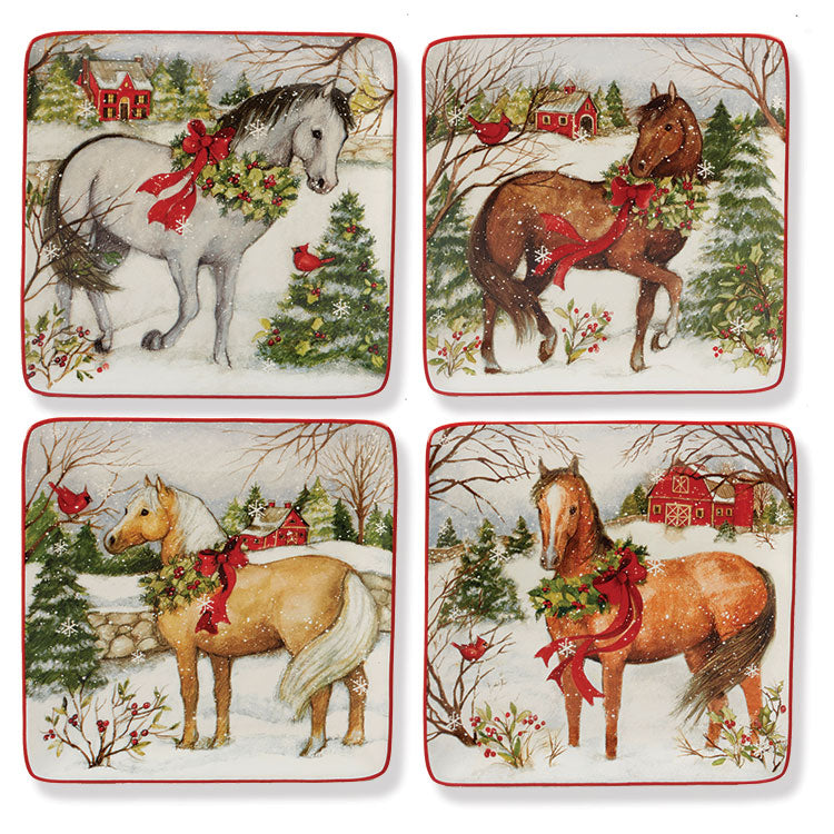 "Holiday Horse 8"" Lunch Plates, Set of 4"