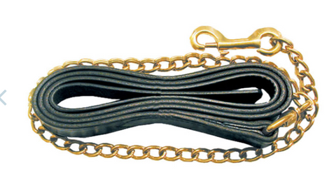 "1"" x 8.5' Leather Lead w/ Brass Plated Chain"
