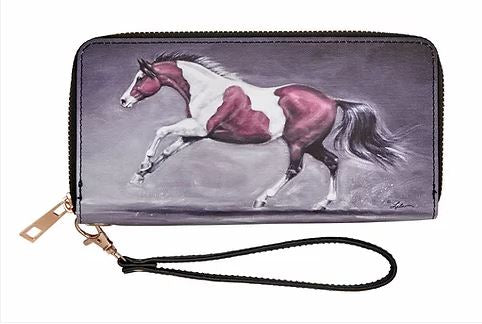 Zippered Wallet with Horse Image