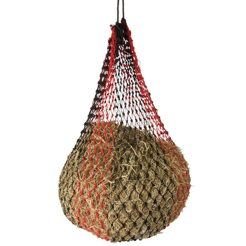"Shires 50"" Small Hole Hay Net - Black & Red"