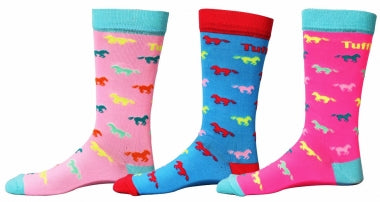 Youth Tuff Rider Neon Pony Socks, 3-Pack