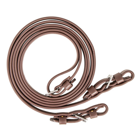 Flat Super Grip Beta Reins with Buckle - Brown