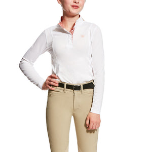 Youth Ariat Sunstopper Show Shirt--White with Trim
