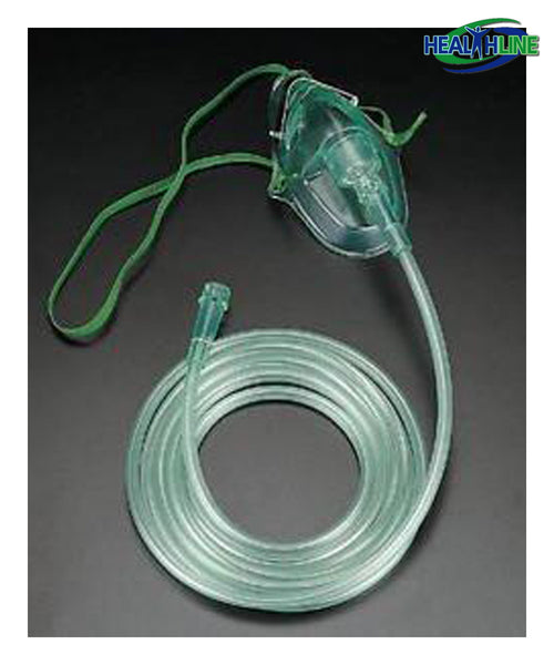Adult Oxygen Mask With 7' Tubing & Elastic Strap