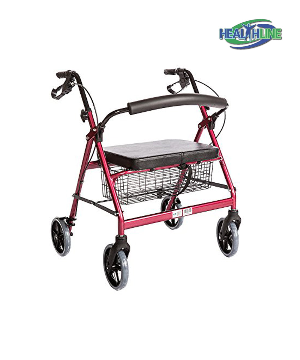 Rolling Walkert - Bariatric Rollator Walker with Large Padded Seat up to 400 Lb Capacity