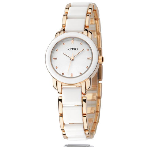 Women's White Kimio Stainless Steel Wrist Watch