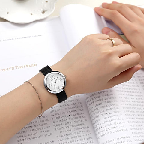 Women's Leather Strap Stainless Steel Modern Beauty Wrist Watch