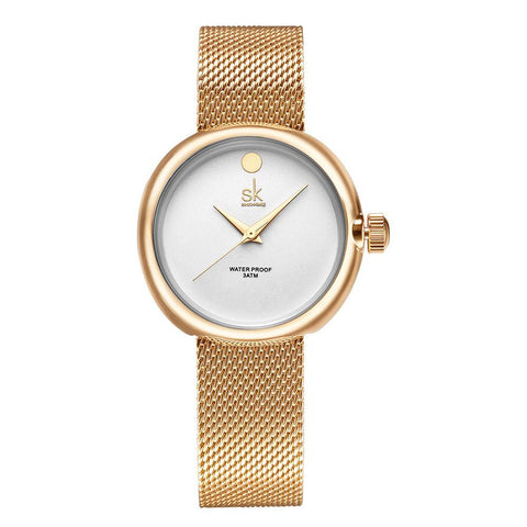 Women's Gold Plated Tempting Mesh Wrist Watch - Olivineparis