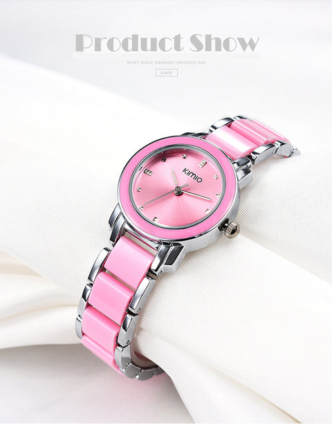 Women's Pink Kimio Stainless Steel Wrist Watch