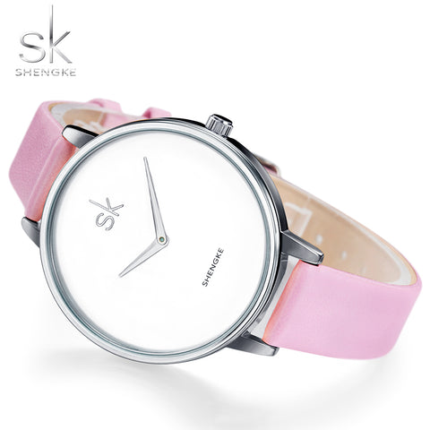 Women's Stainless Steel Leather Strap Modern Minimalism Wrist Watch