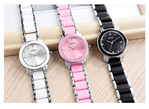 Women's Black, White and Pink Kimio Stainless Steel Wrist Watch