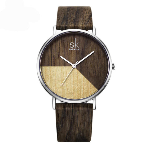 Women's Leather Wood Grin Strap Stainless Steel Wrist Watch