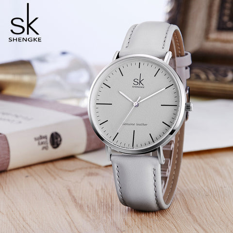 Women's Stainless Steel Leather Strap Simply Chique Wrist Watch