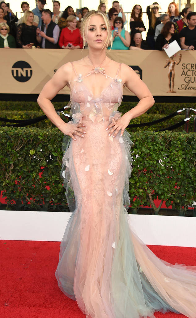 Kaley Cuoco wearing a Marchesa Gown - Big Bang Theory Star