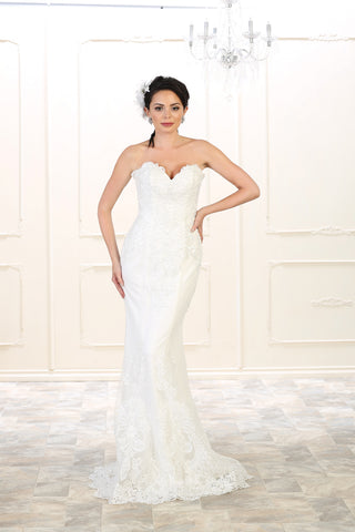 CLEARANCE WEDDING DRESS (IVORY UK 12) - Beverley Hills Bridal RQ7507