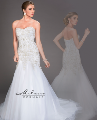 CLEARANCE WEDDING DRESS £250 (IVORY UK 14) - Milano Formals AA9301