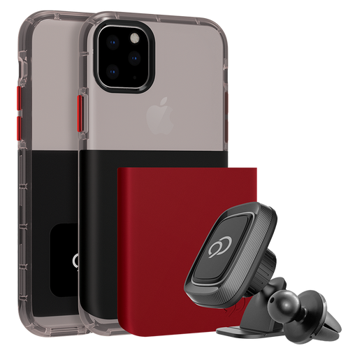 Nimbus9 - Ghost 2 Pro Case with Mount for Apple iPhone 11 Pro / Xs / X - Pitch Black and Crimson