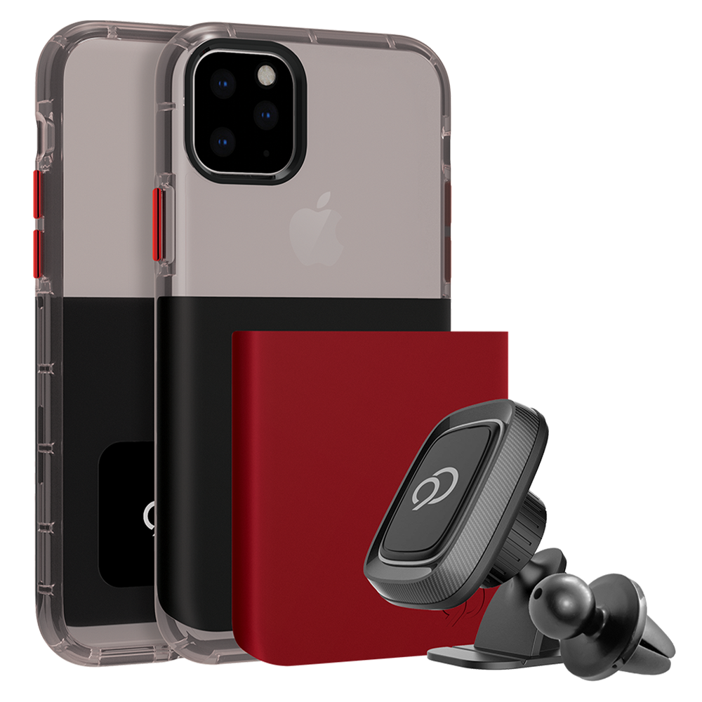 Nimbus9 - Ghost 2 Pro Case with Mount for Apple iPhone 11 Pro Max / Xs Max - Pitch Black and Crimson