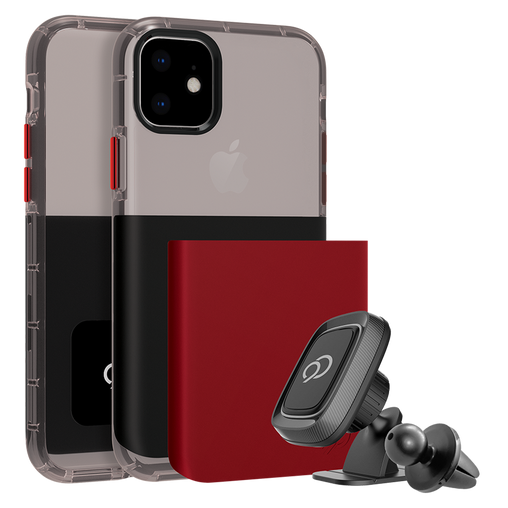 Nimbus9 - Ghost 2 Pro Case with Mount for Apple iPhone 11 / XR - Pitch Black and Crimson