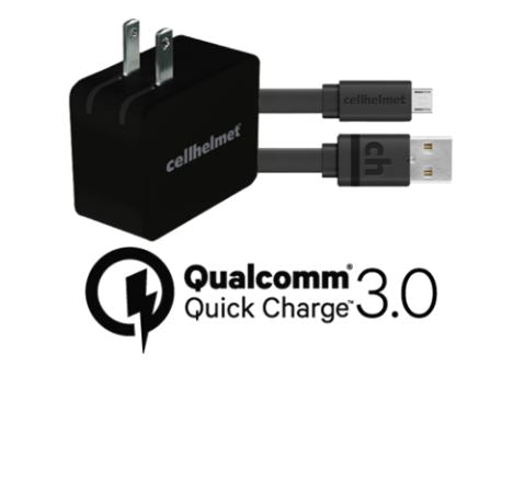 Fast Wall Charger (Qualcomm Quick Charge 3.0) + 3' Flat Micro USB Cable
