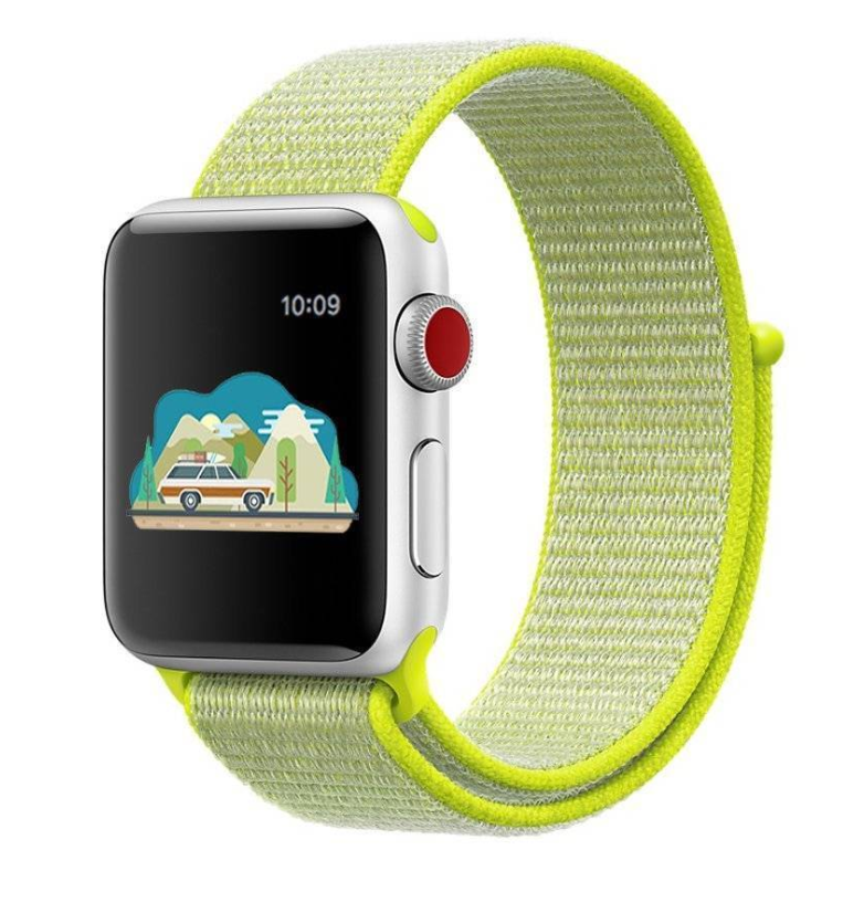 Sport Loop Nylon Woven Band for Apple Watch Series 4 3 2 1 (Florescent Green)