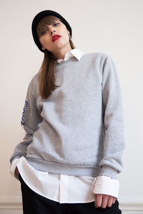 Sweat-shirt - Free America - Gris chiné