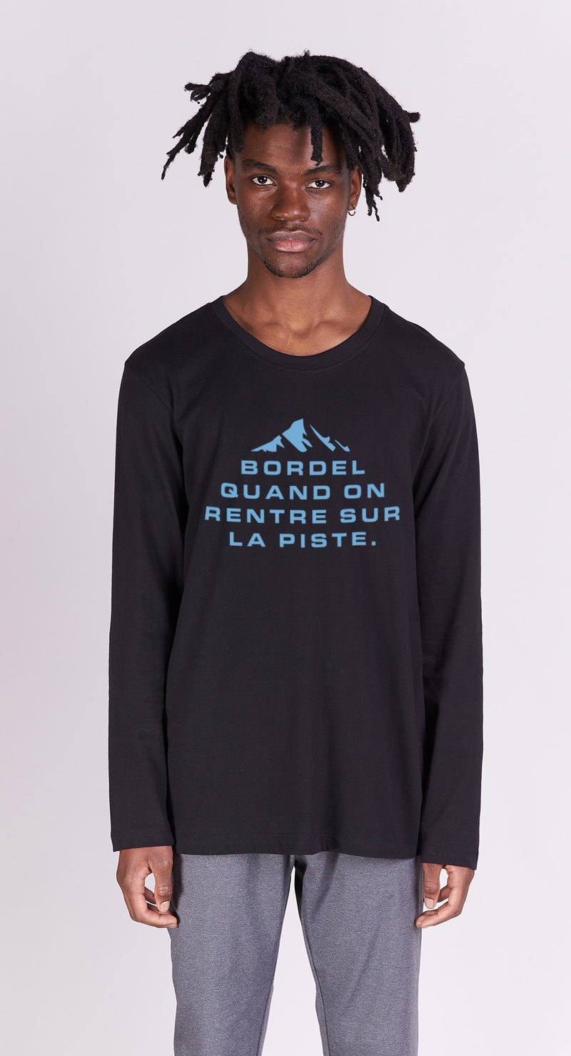 T-shirt College - Bordel sur la piste - Noir