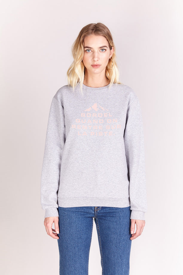 Sweat-shirt - Bordel sur la piste - Gris chiné