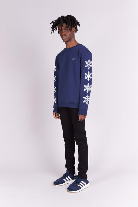 Sweat-shirt - Snowflakes - Navy