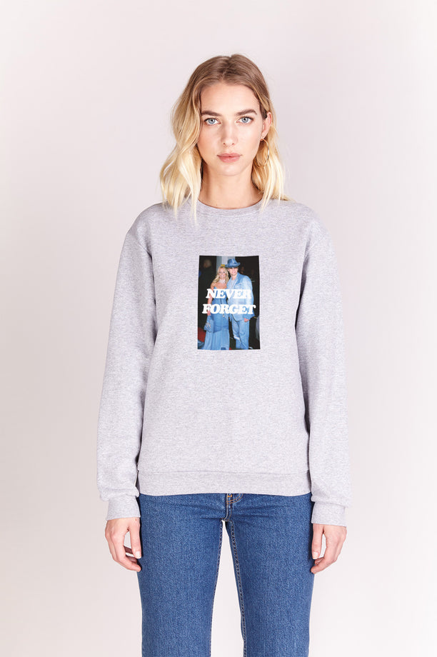Sweat-shirt - Never Forget - Gris chiné