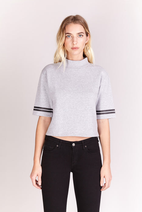 Sweat-shirt crop - Gris chiné