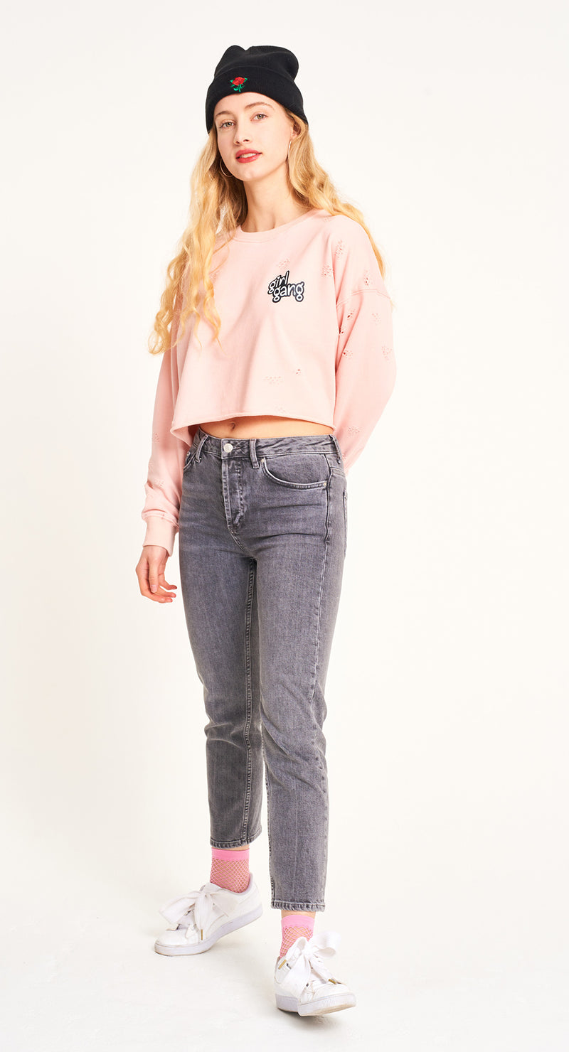 Sweat-shirt crop - Girl Gang - Pêche