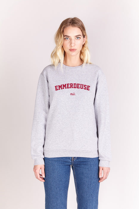 Sweat-shirt - Emmerdeuse Née - Gris chiné