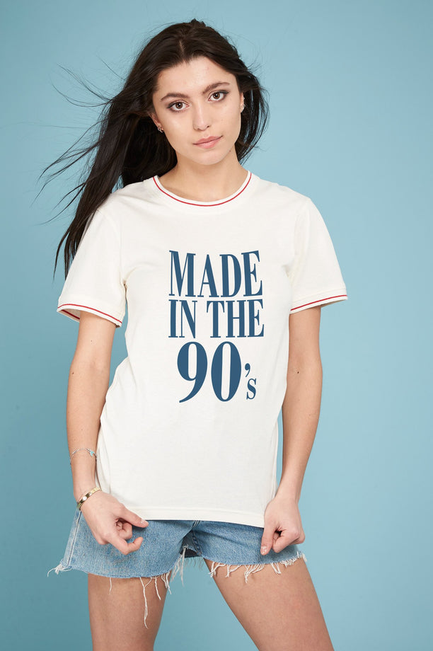 T-shirt bords côtes rayés - Made In The 90's - Blanc cassé