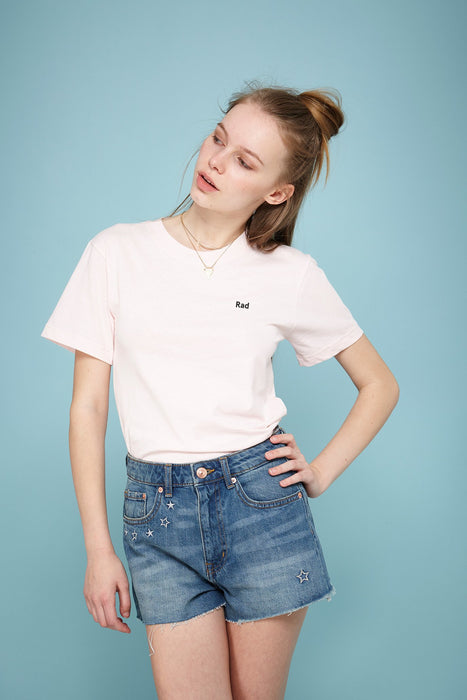 T-shirt Boyfriend - Rad Logo Series - Rose poudré