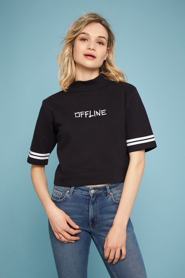 Sweat-shirt crop - Offline pen - Noir