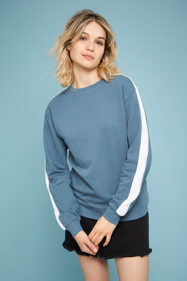 Sweat-shirt à bandes - Bleuet