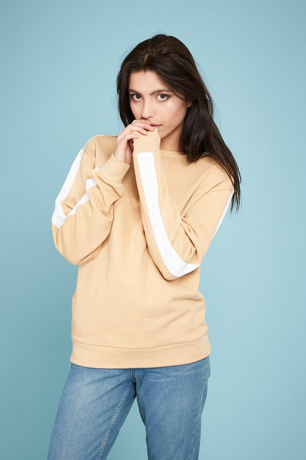 Sweat-shirt à bandes - Beige