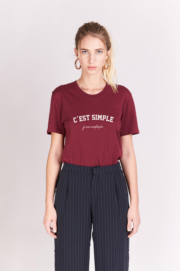 T-shirt Boyfriend - C'est Simple - Bordeaux
