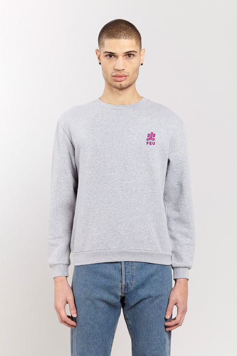 Sweat-shirt - Feu - Gris chiné